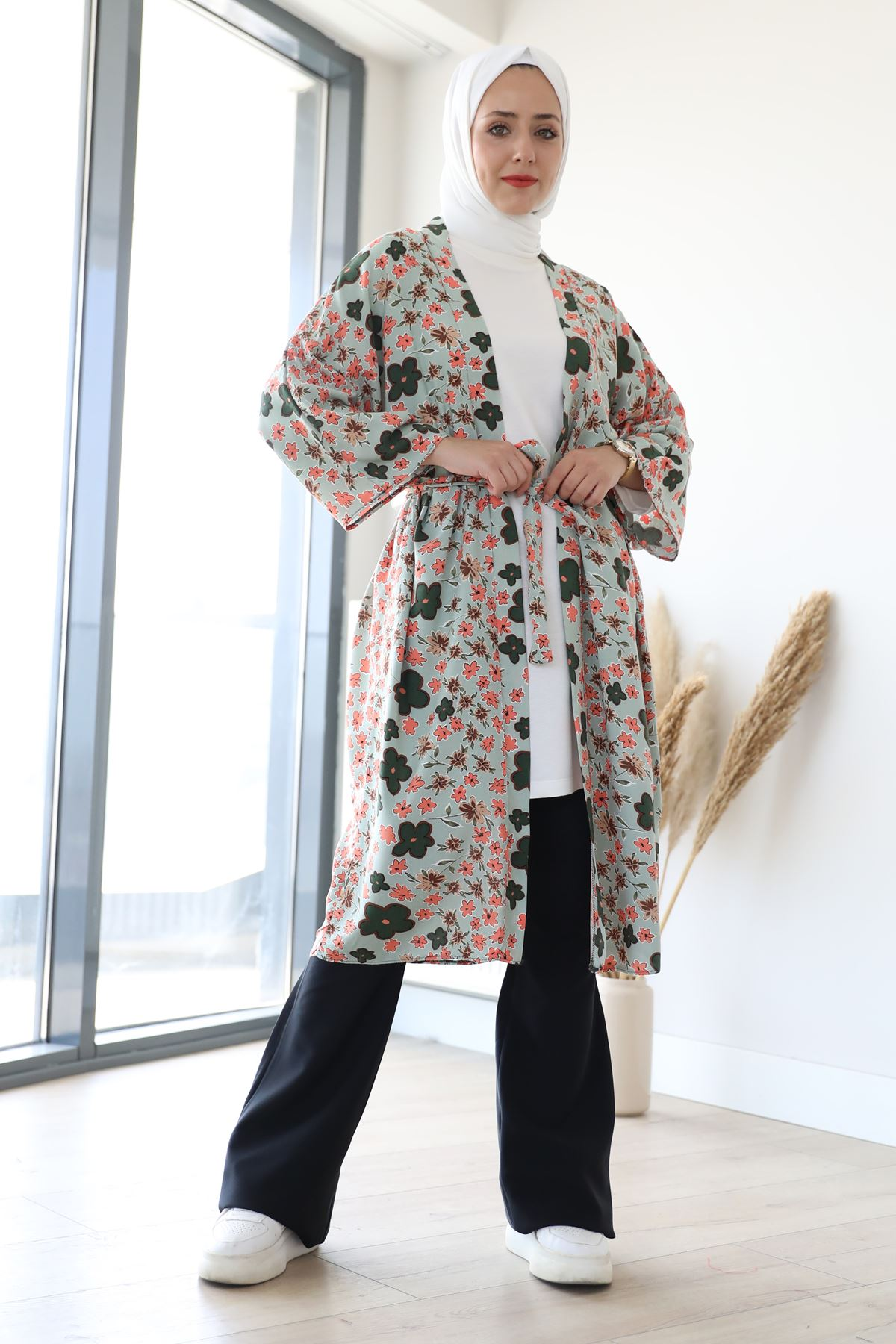 Desenli Kimono-Mint