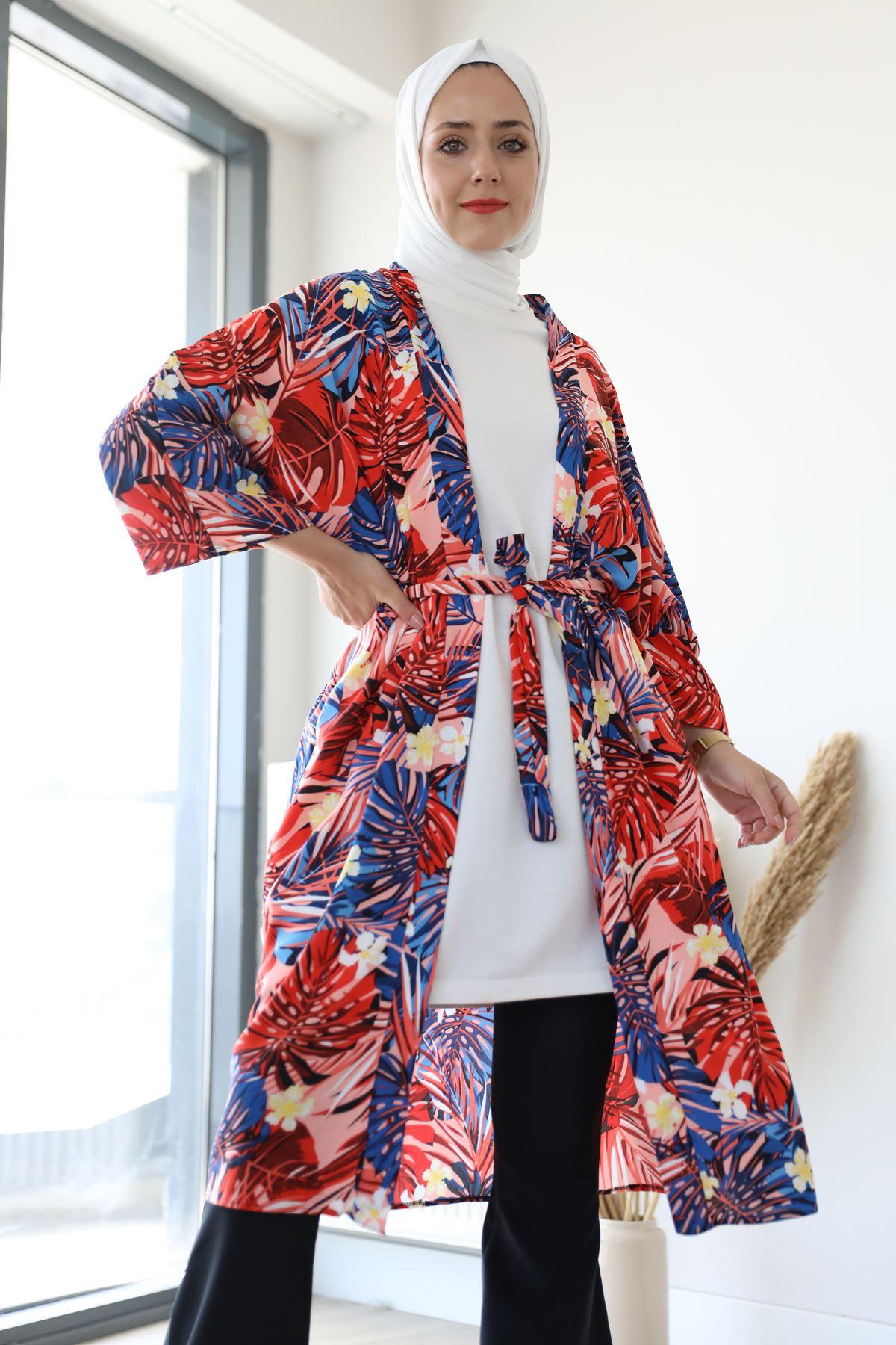 Desenli Kimono-Pudra
