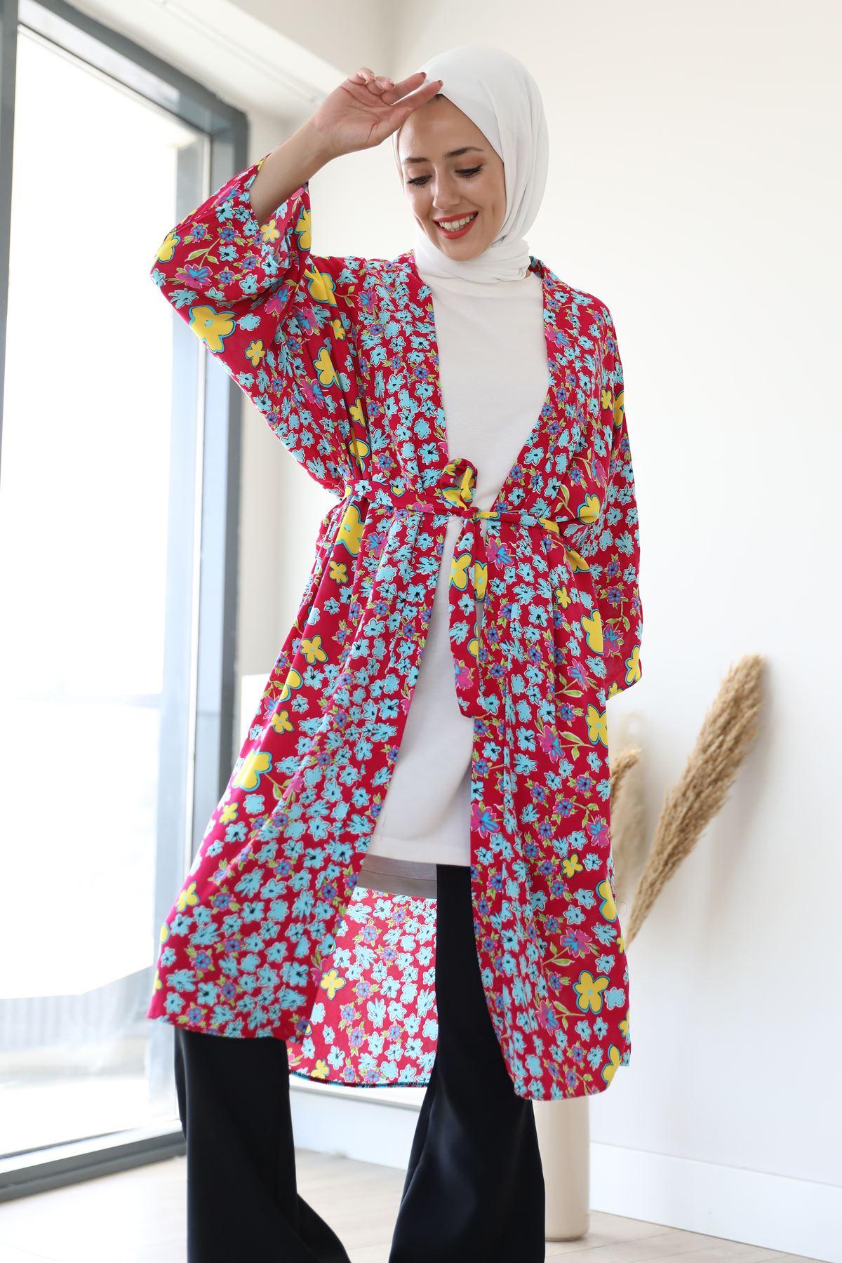 Desenli Kimono-Fuşya