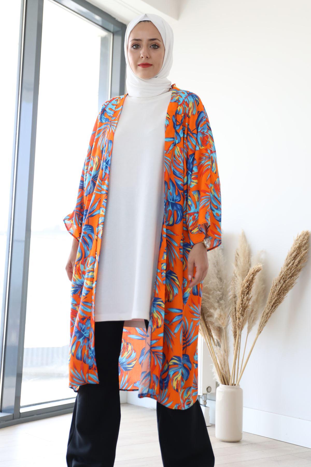 Desenli Kimono-ORANJ