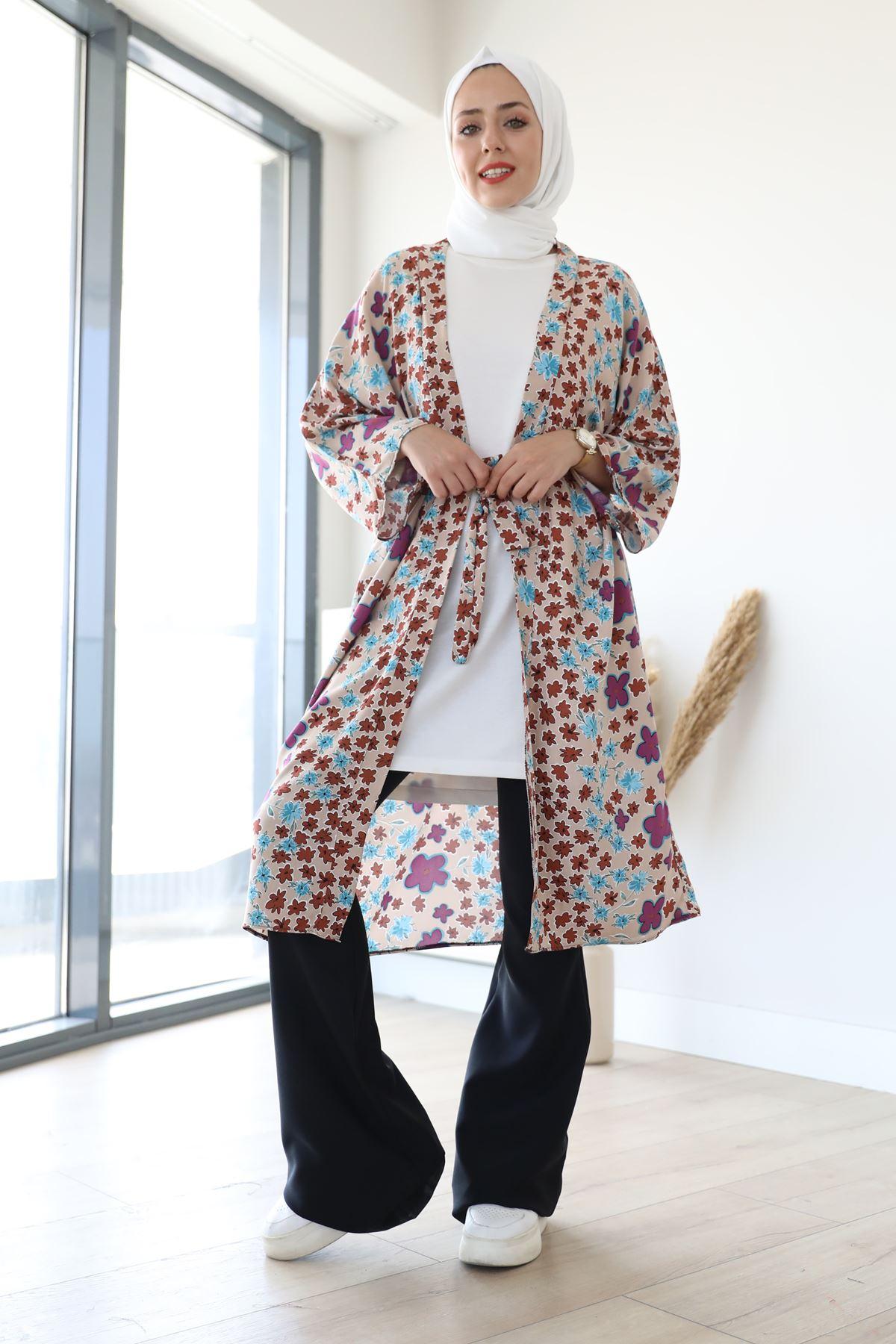 Desenli Kimono-Bej