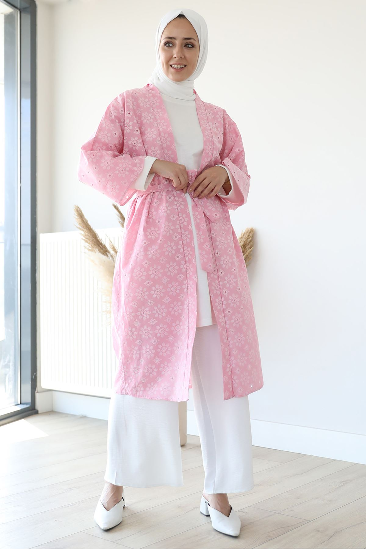 Kuşaklı kimono-Gül Kurusu
