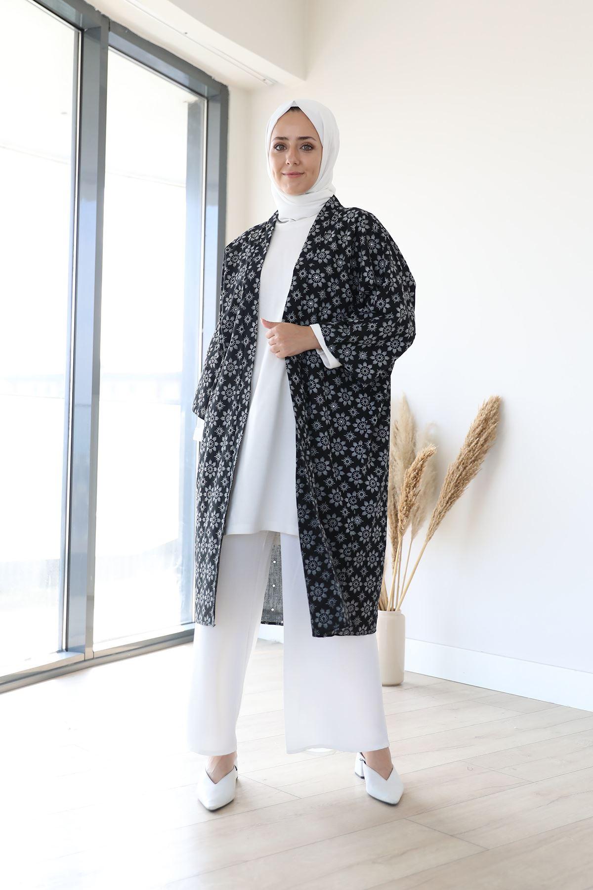 Kuşaklı kimono-Siyah