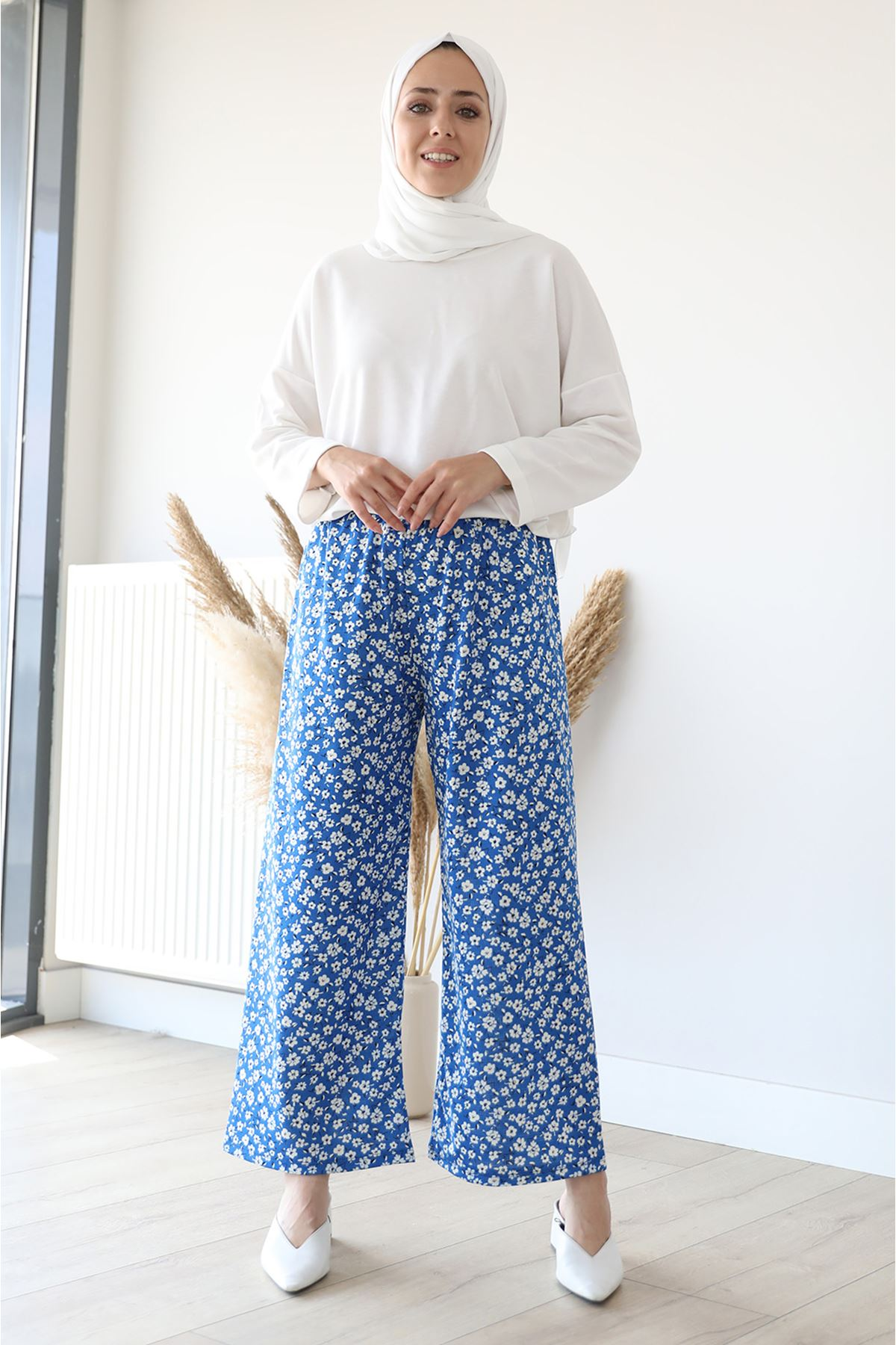 Desenli Bol Paça Pantolon-İndigo