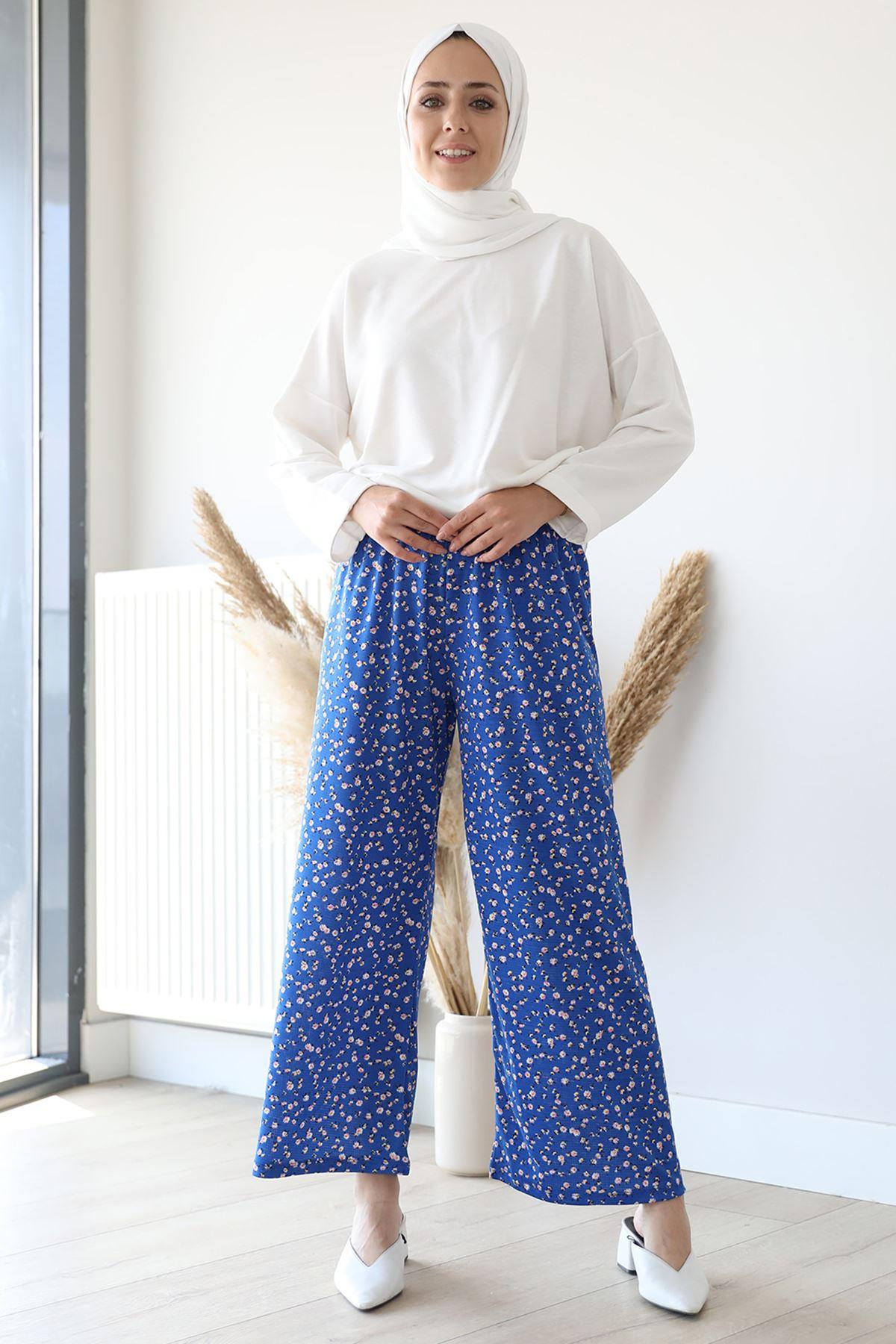 Desenli Bol Paça Pantolon-Saks