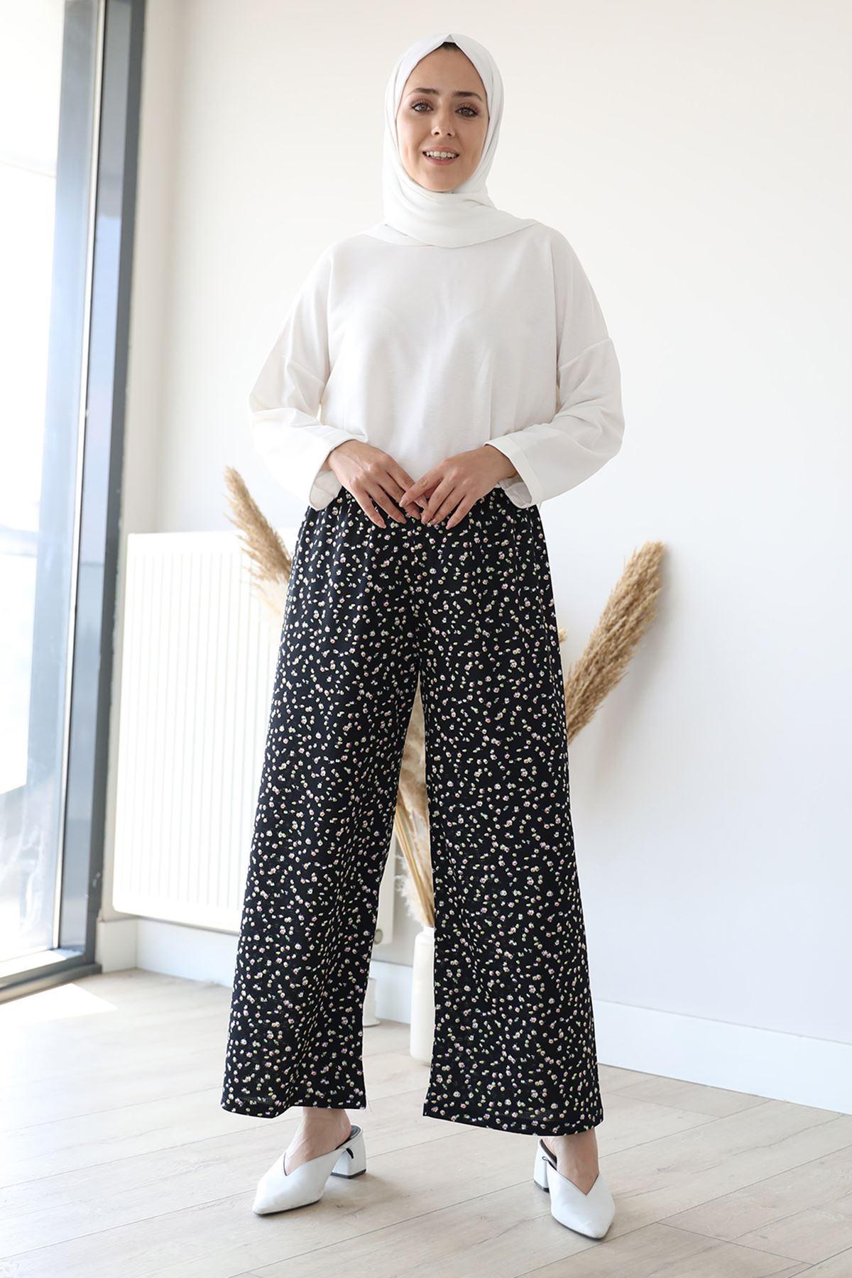 Desenli Bol Paça Pantolon-Siyah Desenli