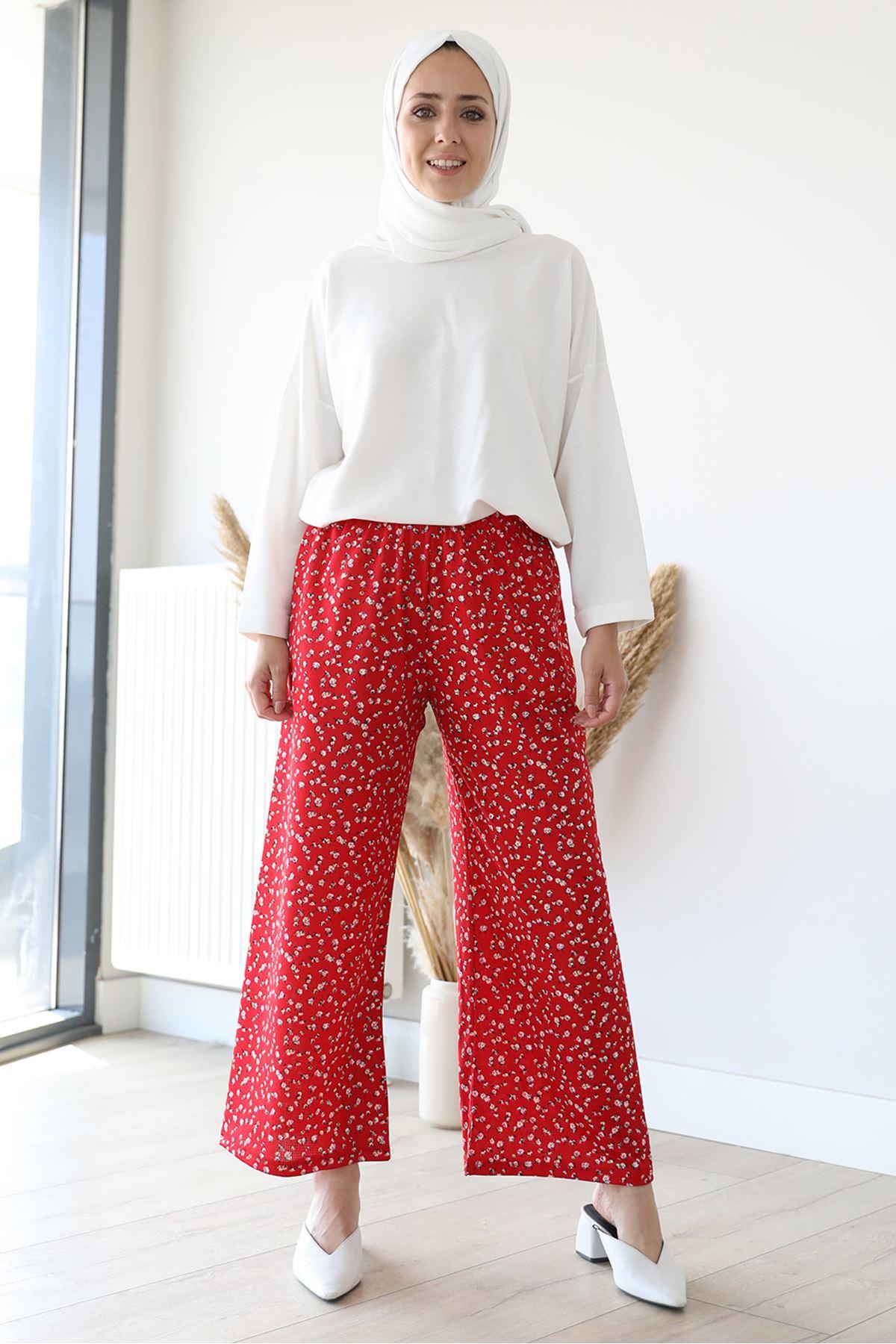 Desenli Bol Paça Pantolon-Kırmızı