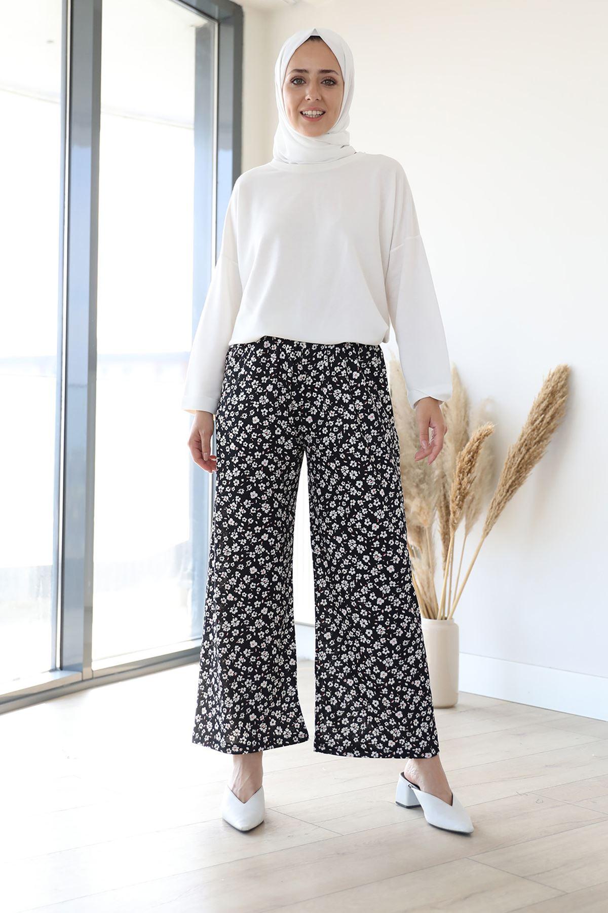 Desenli Bol Paça Pantolon-Siyah