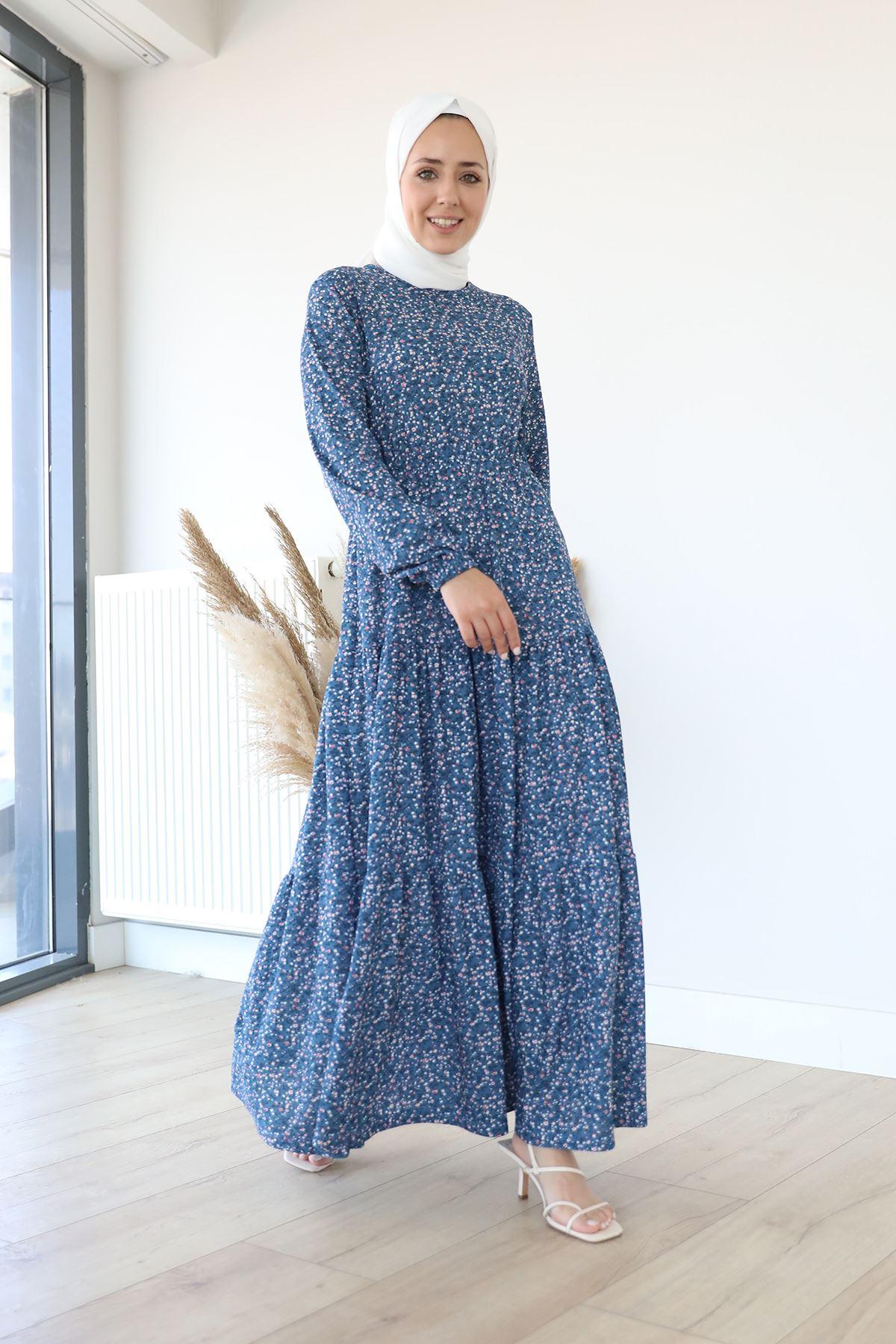 Eteği Fırfır Detaylı Elbise-İndigo