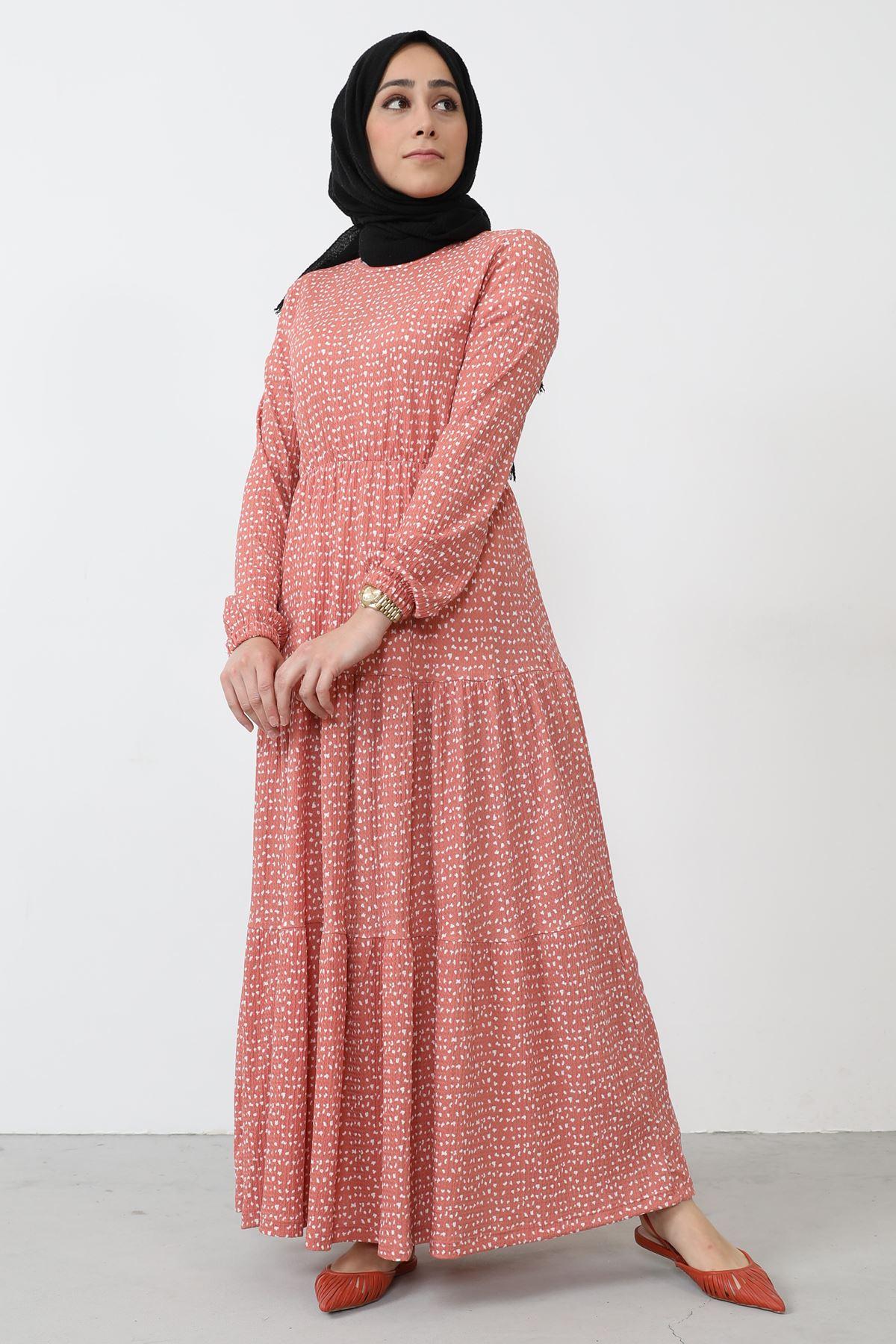 Eteği Fırfır Detaylı Elbise-Pudra