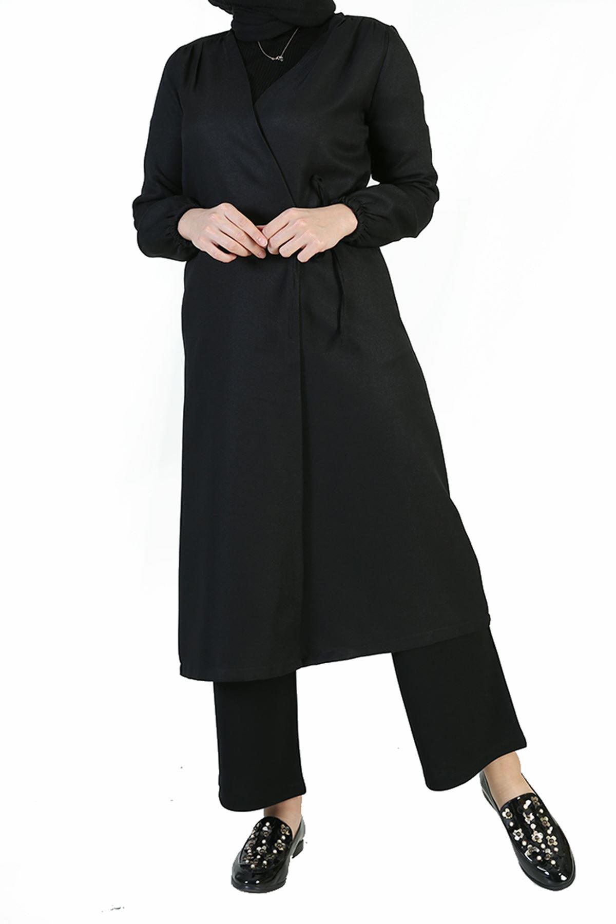 Yan Bağlamalı Uzun Ceket-Siyah