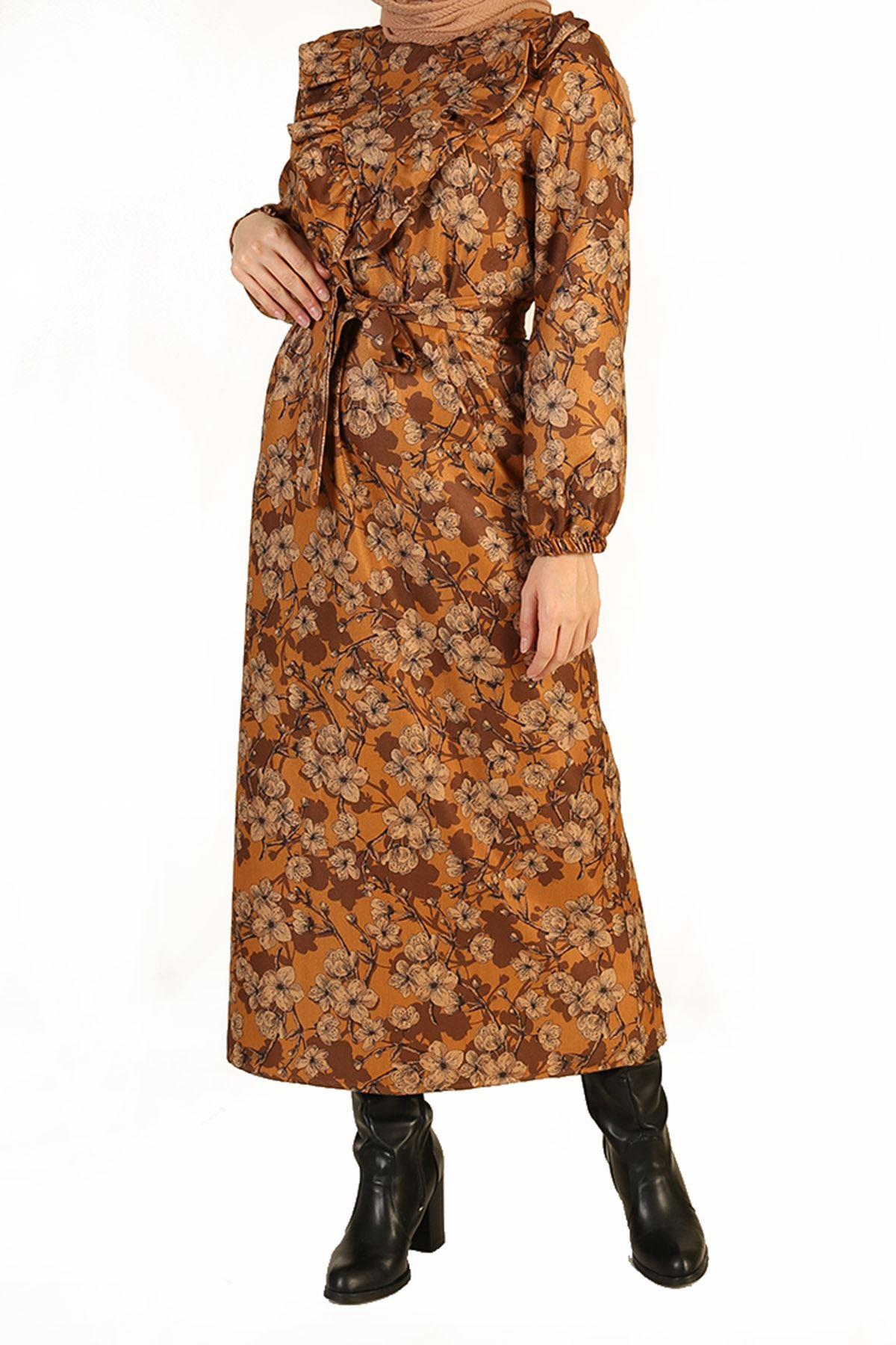 Fırfır Detay Kuşaklı Elbise-Hardal