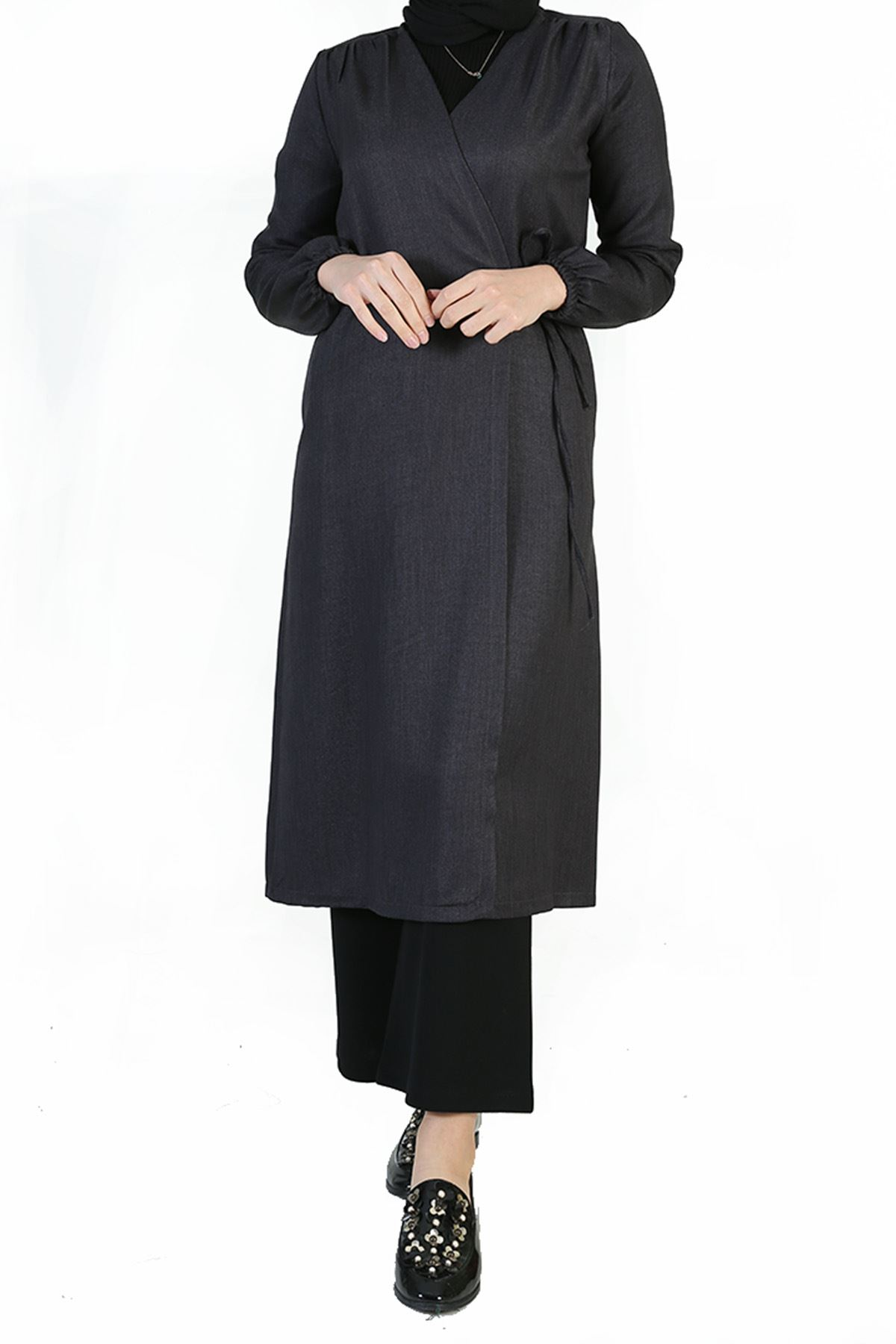 Yan Bağlamalı Uzun Ceket-Füme