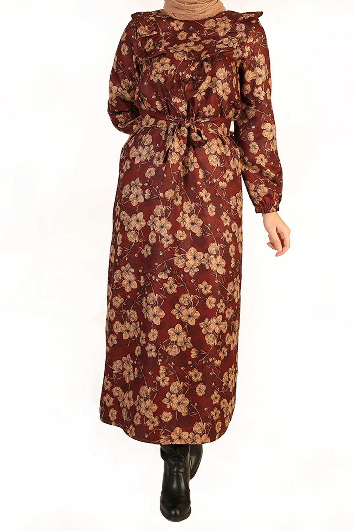 Fırfır Detay Kuşaklı Elbise-Bordo