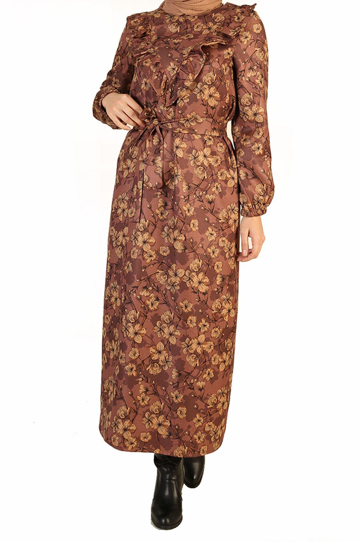 Fırfır Detay Kuşaklı Elbise-Gül Kurusu