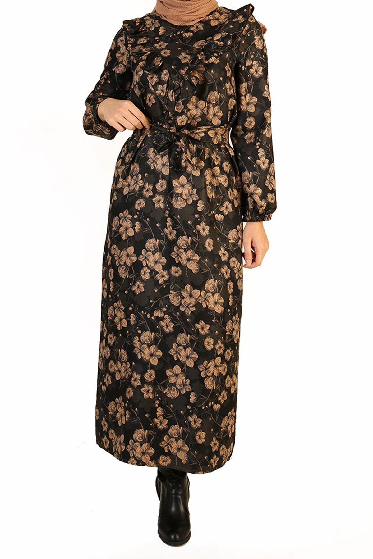 Fırfır Detay Kuşaklı Elbise-Siyah