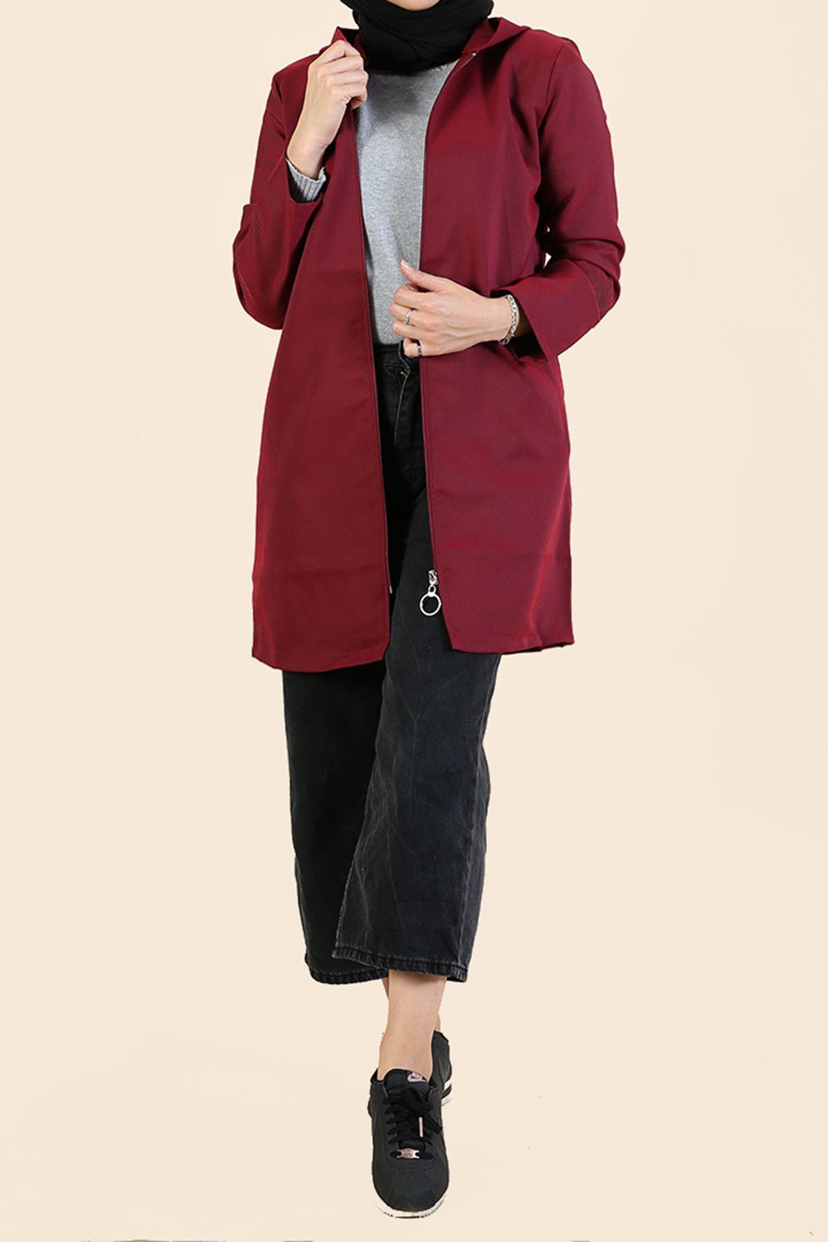Fermuarlı Kapşonlu Ceket-Bordo
